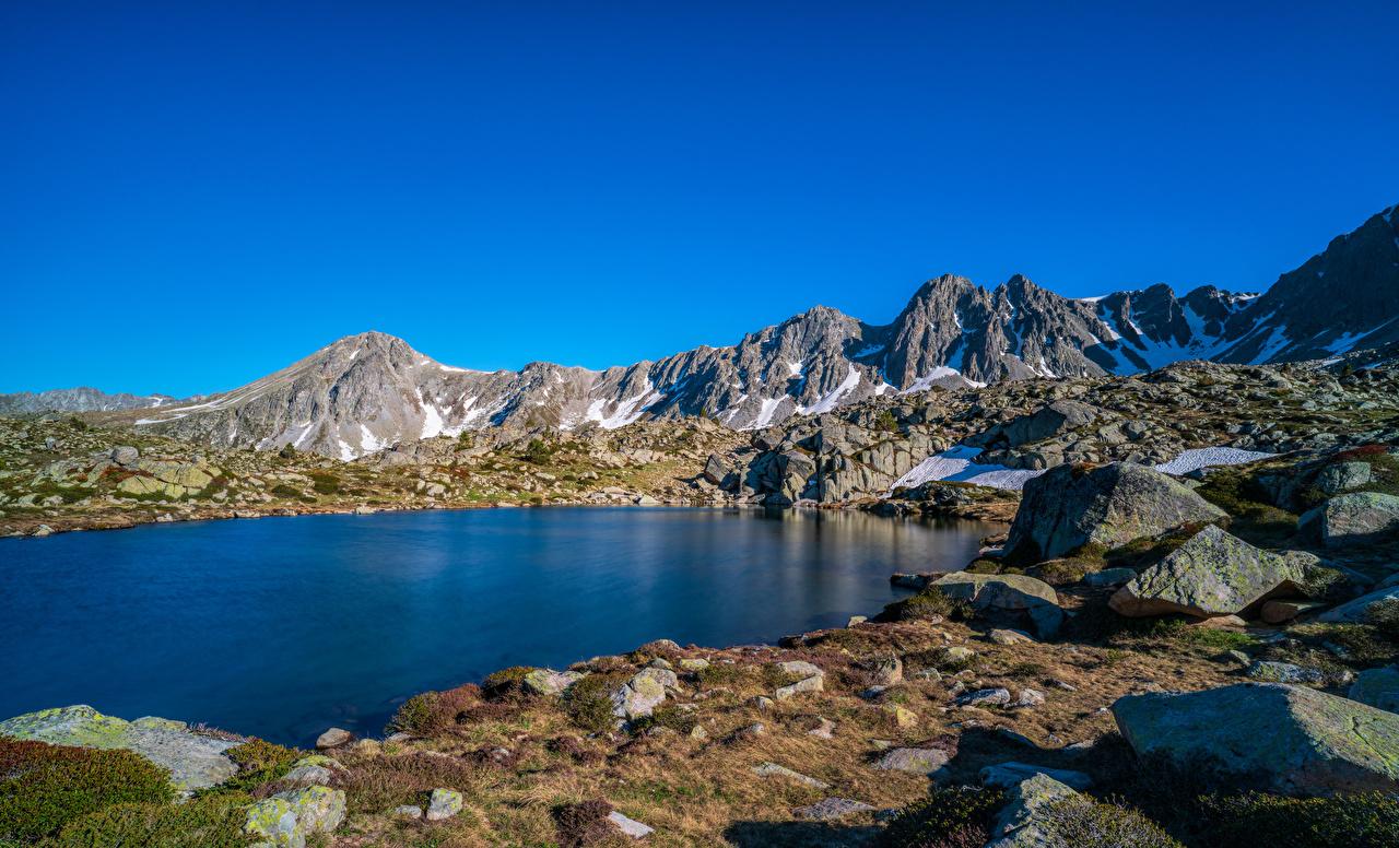 Фотография Grau Roig, Andorra Горы Утес Природа Небо Озеро Камни гора Скала скале скалы Камень