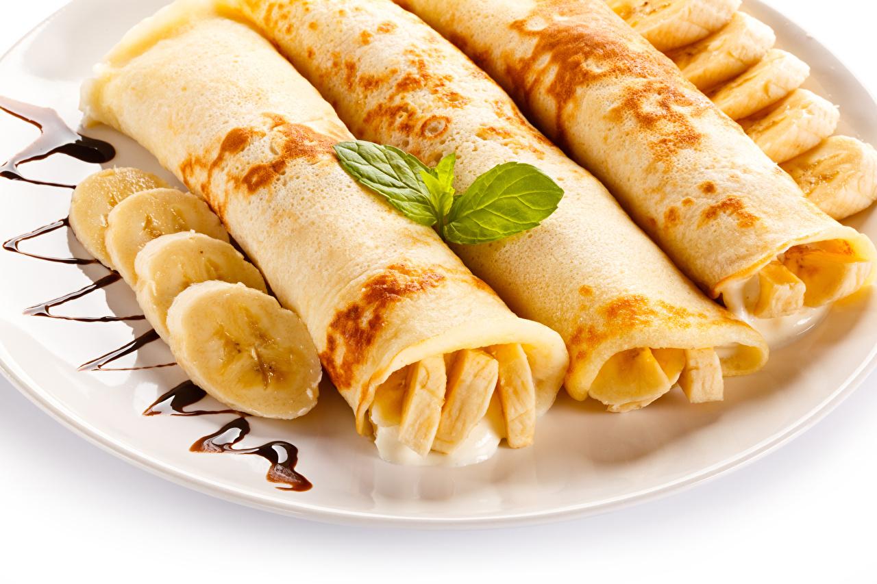 Картинка Блины Бананы Еда вблизи Пища Продукты питания Крупным планом