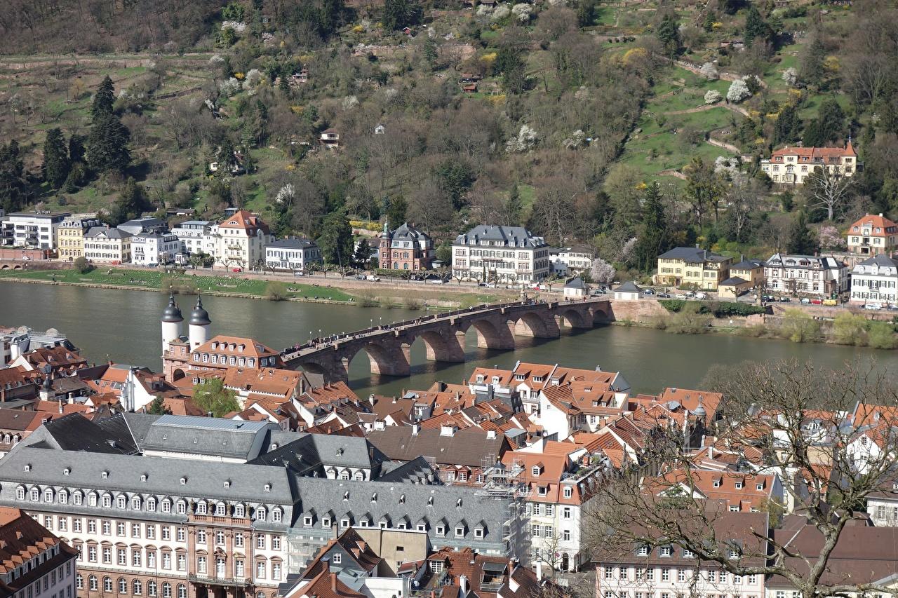 Фото Германия Heidelberg Мосты река Города Здания Реки речка Дома город