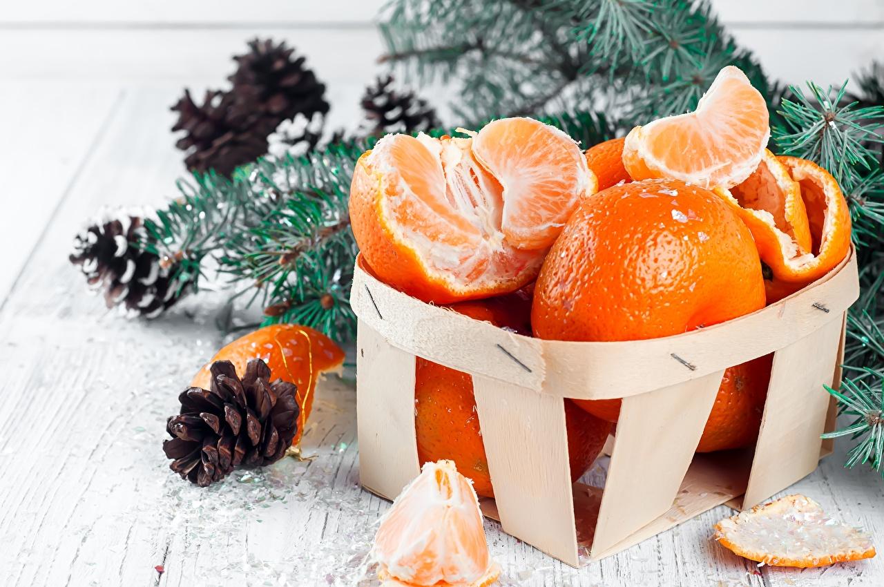 Обои для рабочего стола Рождество Мандарины Продукты питания Новый год Еда Пища