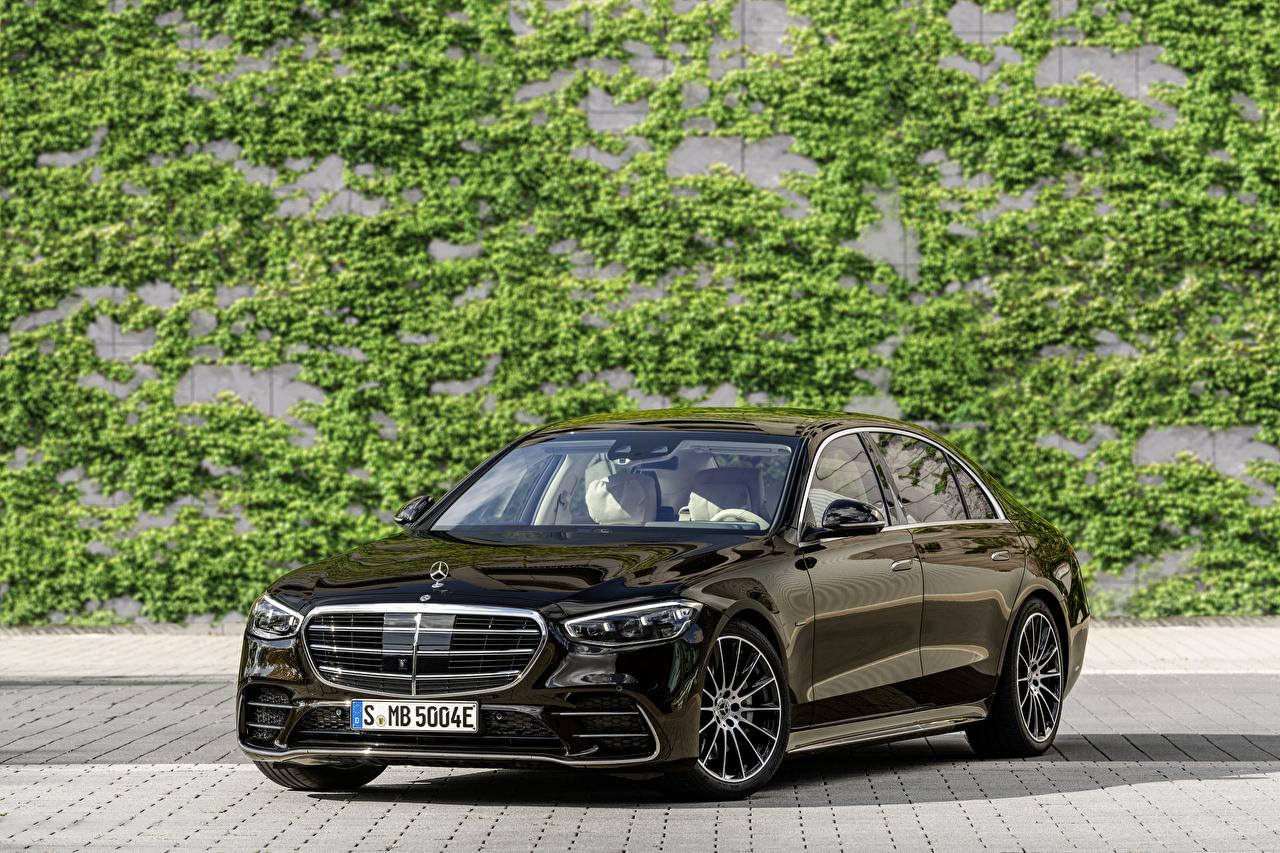 Фотографии Мерседес бенц 2021 S 580 e lang AMG Line Worldwide черные Металлик автомобиль Mercedes-Benz черная Черный черных авто машины машина Автомобили