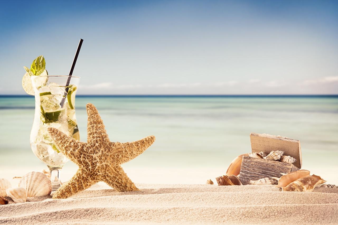 Картинки Морские звезды Природа Песок Бокалы Коктейль песке песка бокал