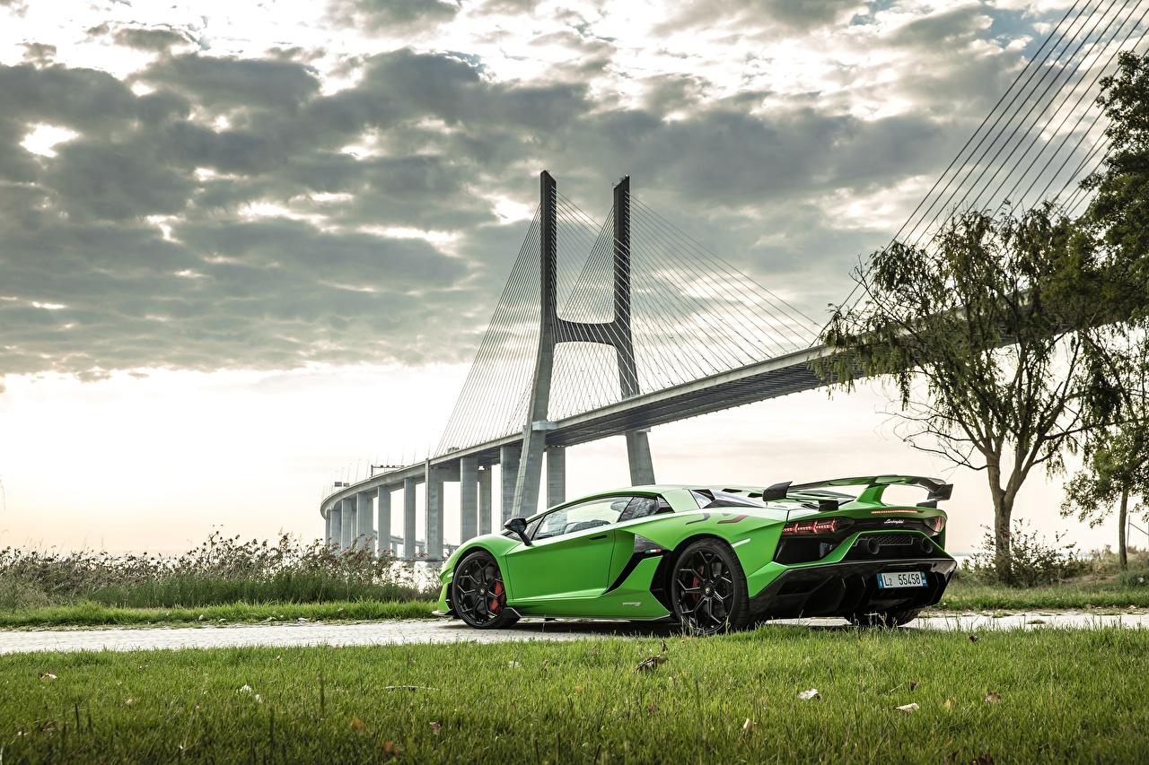 Фото Ламборгини 2018, SVJ, Aventador SVJ Мосты Салатовый Автомобили Lamborghini Авто Машины