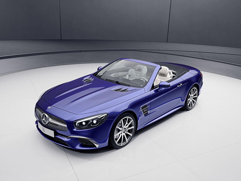 Фотографии Mercedes-Benz 2017 SL-Klasse designo Edition кабриолета Синий машины Металлик Мерседес бенц Кабриолет синих синие синяя авто машина автомобиль Автомобили