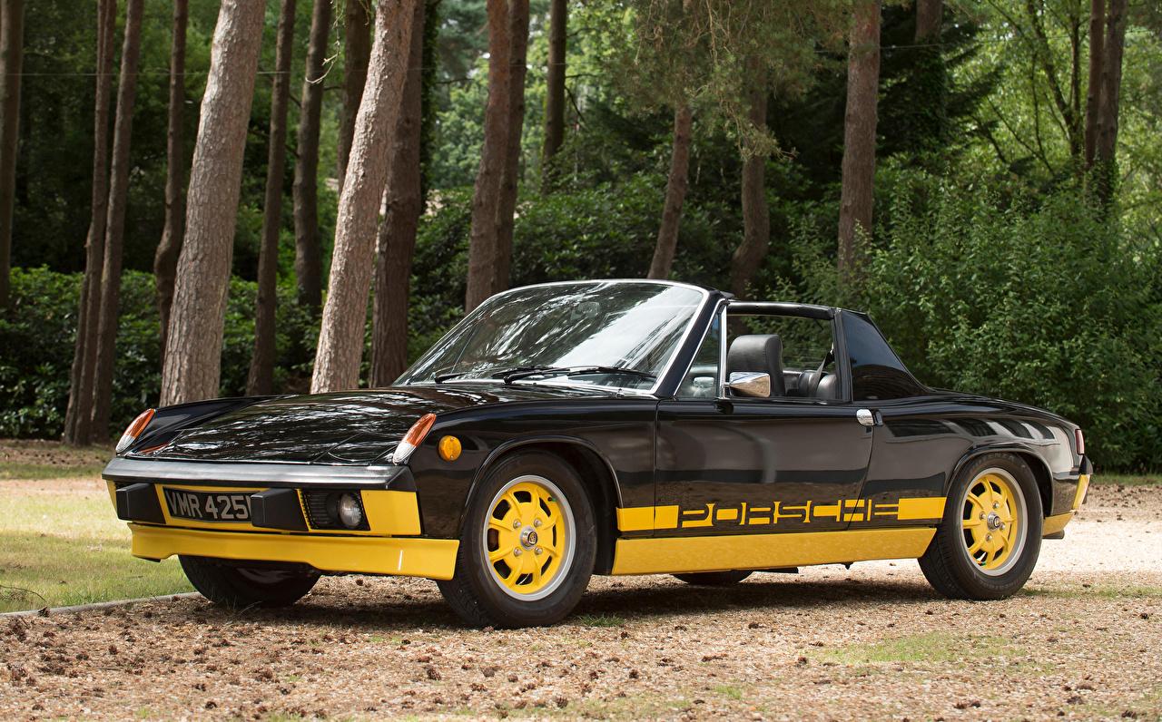 Картинка Porsche Стайлинг 1974 914 Limited Edition Металлик Ретро черные Родстер Автомобили Порше Тюнинг черных Черный черная винтаж старинные авто машина машины автомобиль