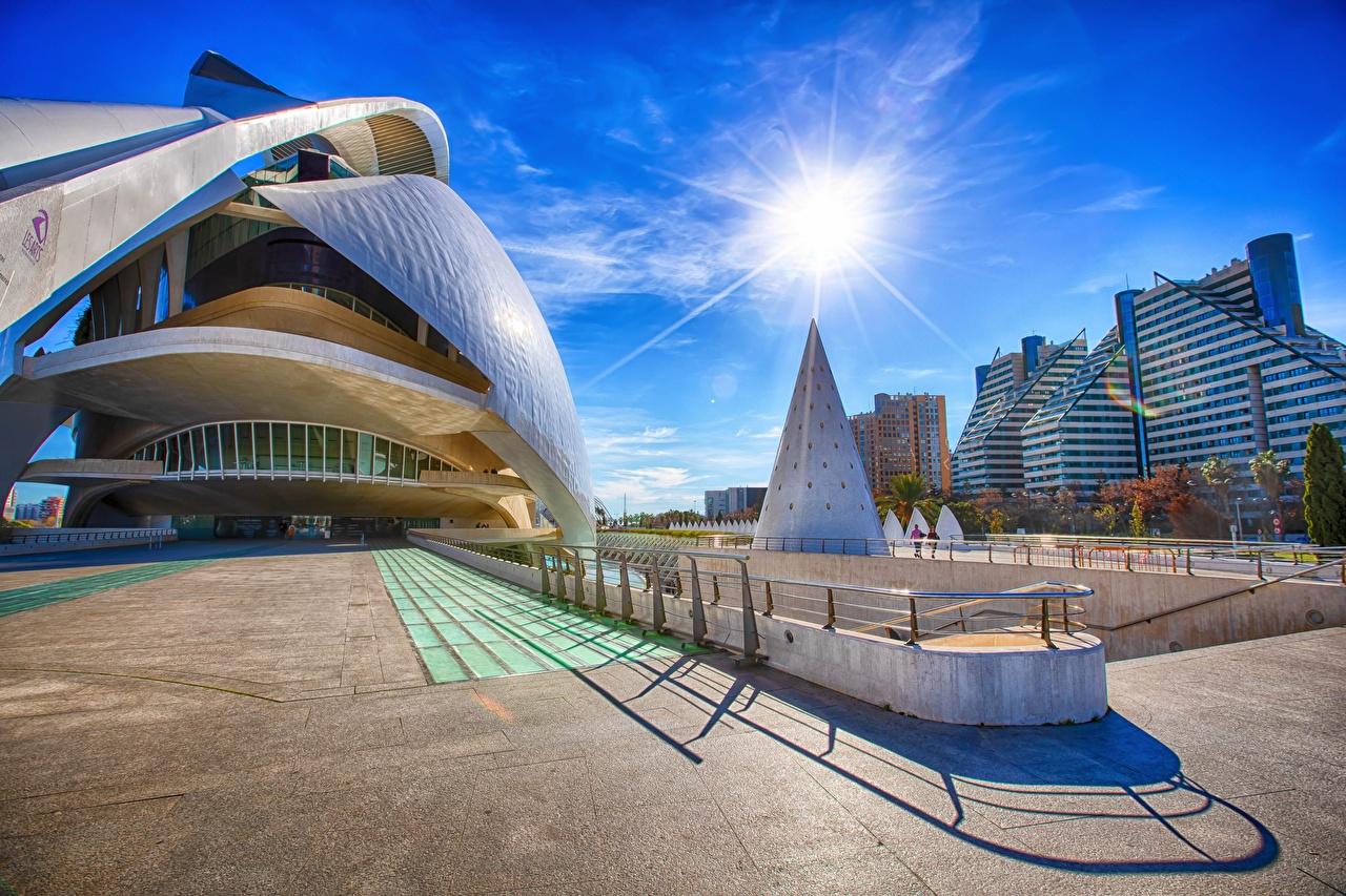 Обои для рабочего стола Испания Valencia, Ciudad de las Artes y las Ciencias HDRI Солнце Небо улице Города HDR солнца улиц Улица город