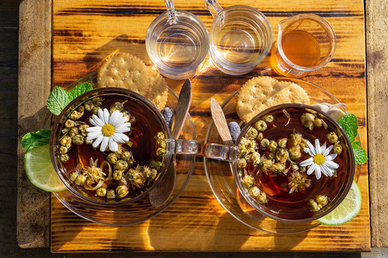 Фото Чай Лайм Стакан ромашка Пища Чашка Печенье Ромашки стакане стакана Еда чашке Продукты питания