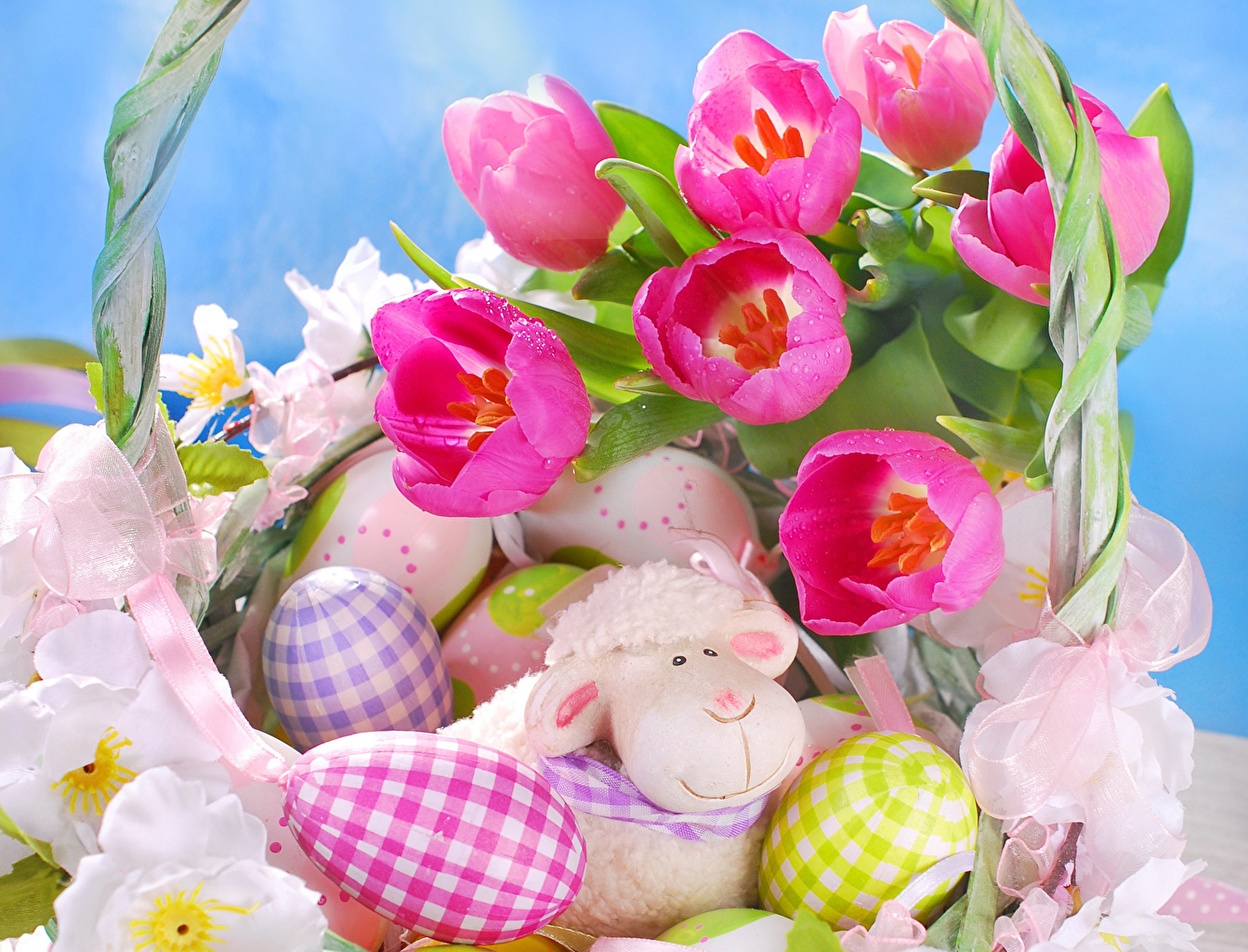 Обои для рабочего стола Пасха розовых Тюльпаны цветок Праздники тюльпан розовая розовые Розовый Цветы