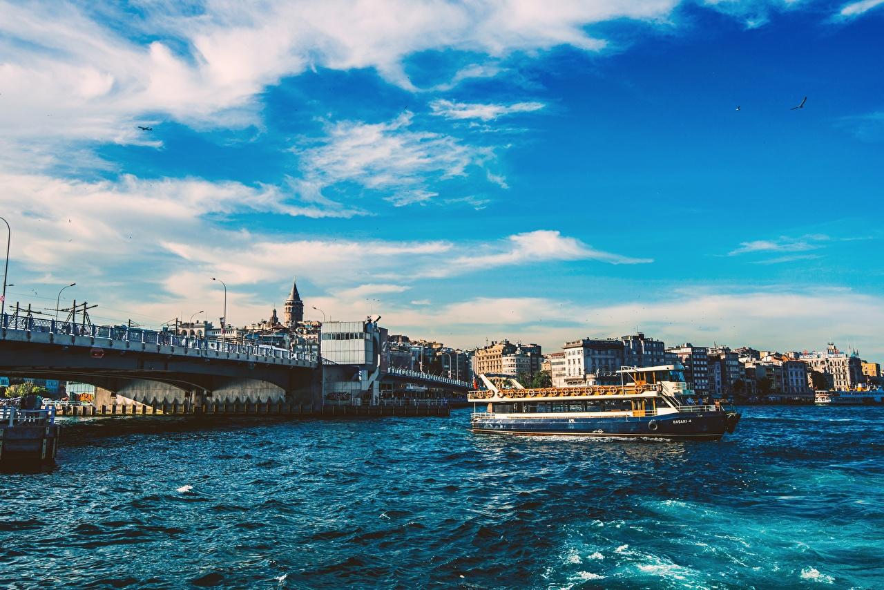 Фотографии Стамбул Турция Bosphorus мост Речные суда город Мосты Города