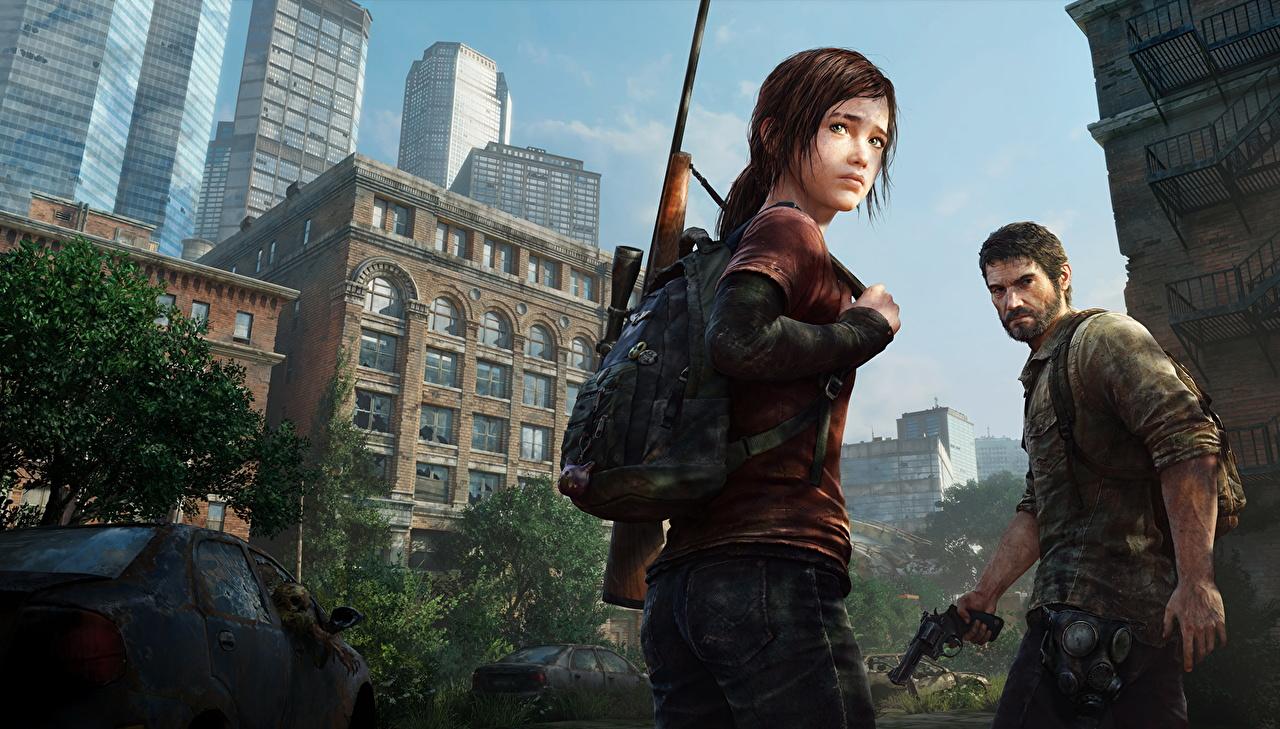 Картинка The Last of Us Снайперская винтовка винтовка мужчина , Joel Двое молодые женщины Игры Винтовки Мужчины 2 два две вдвоем Девушки девушка молодая женщина компьютерная игра