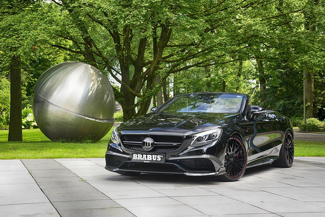 Фото Автомобили Mercedes-Benz 2016 Brabus 850 Cabriolet (A217) Металлик черная кабриолета авто машина машины автомобиль Мерседес бенц Брабус черных черные Черный Кабриолет