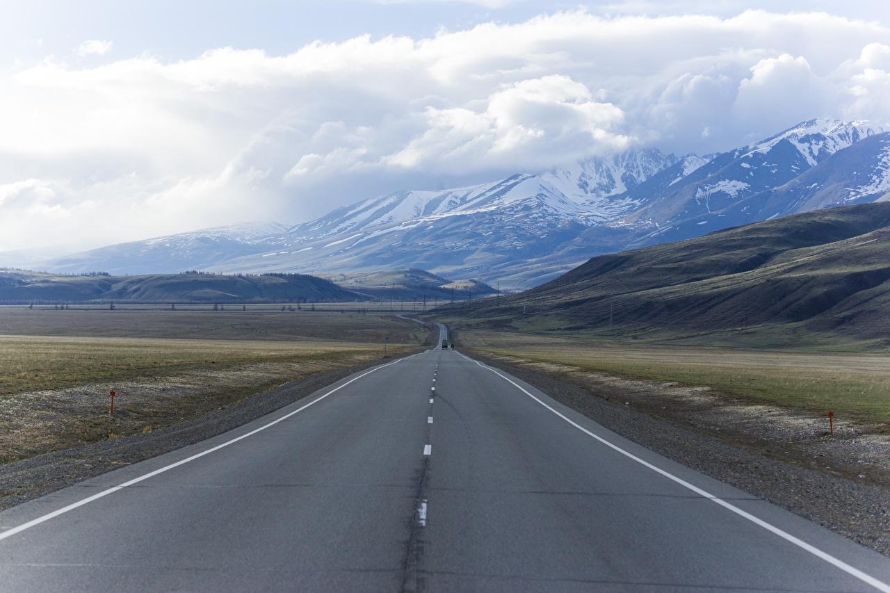 Обои Россия mountain Altai Горы Природа Пейзаж Дороги Асфальт Облака