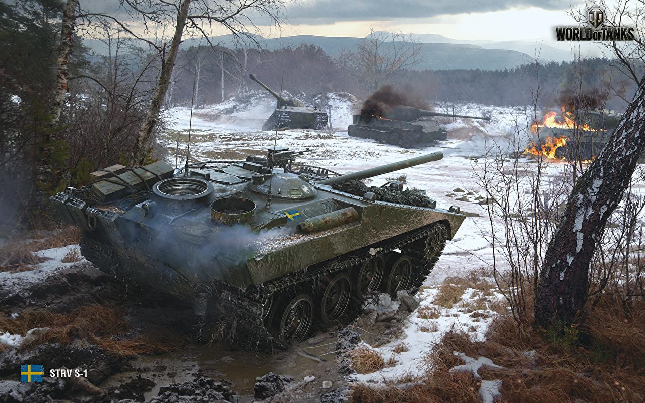 Обои для рабочего стола WOT САУ Strv S1, Swedish Игры грязный World of Tanks Самоходка компьютерная игра Грязь в грязи