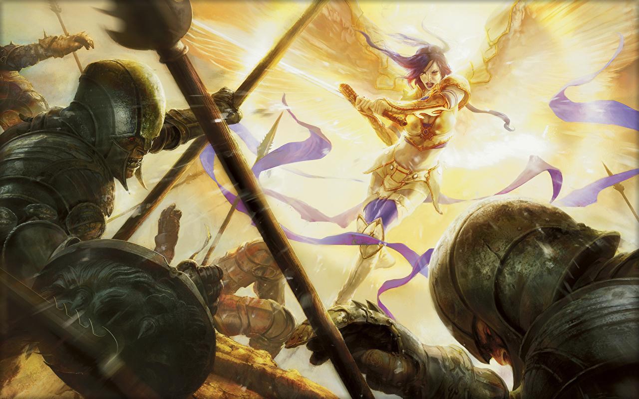 女性が戦うmtg壁紙