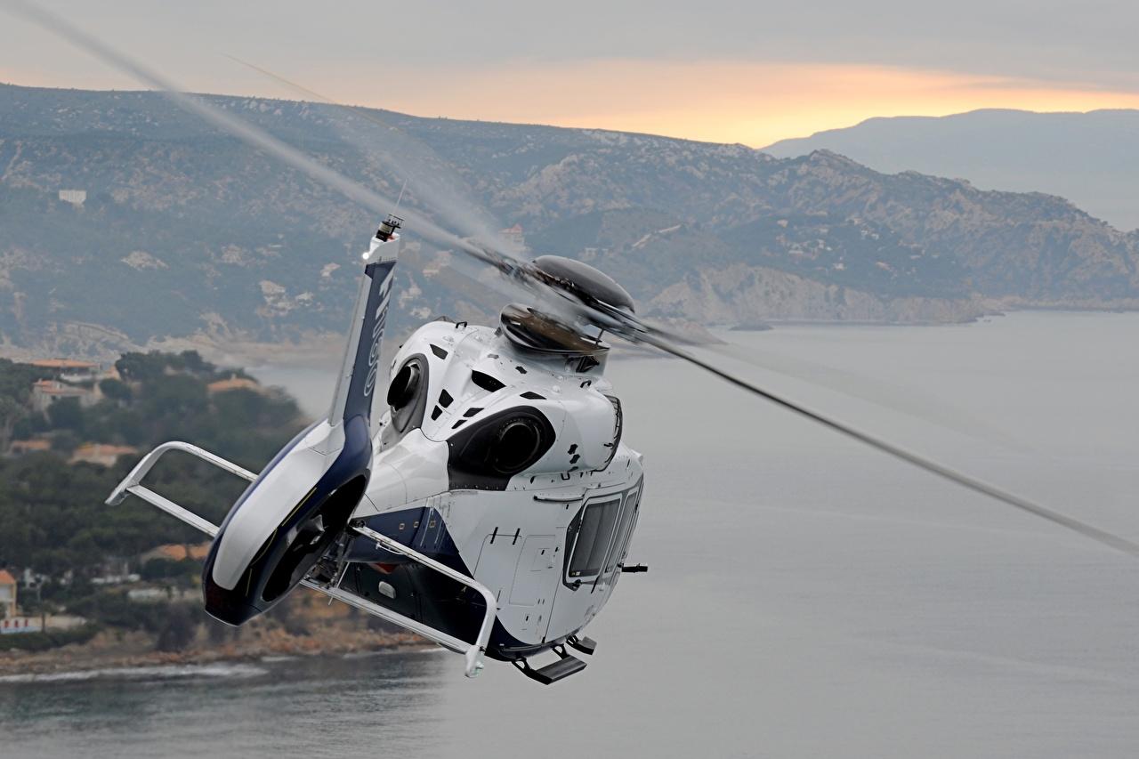 Картинки Airbus вертолет H160 белых Полет вид сзади Авиация Эйрбас Вертолеты Белый белые белая Сзади летят летит летящий