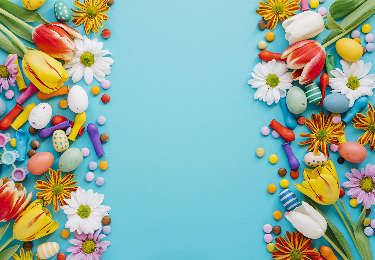 Картинка Пасха яйцами Конфеты Тюльпаны Цветы Хризантемы Шар Праздники Цветной фон яиц яйцо Яйца тюльпан цветок Шарики