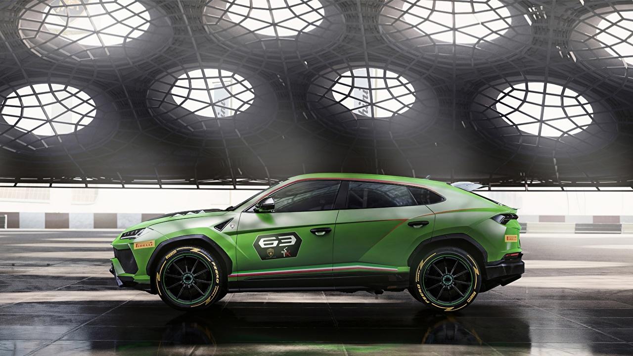 Фотографии Ламборгини Urus 2019 ST-X Зеленый Сбоку Автомобили Lamborghini Авто Машины