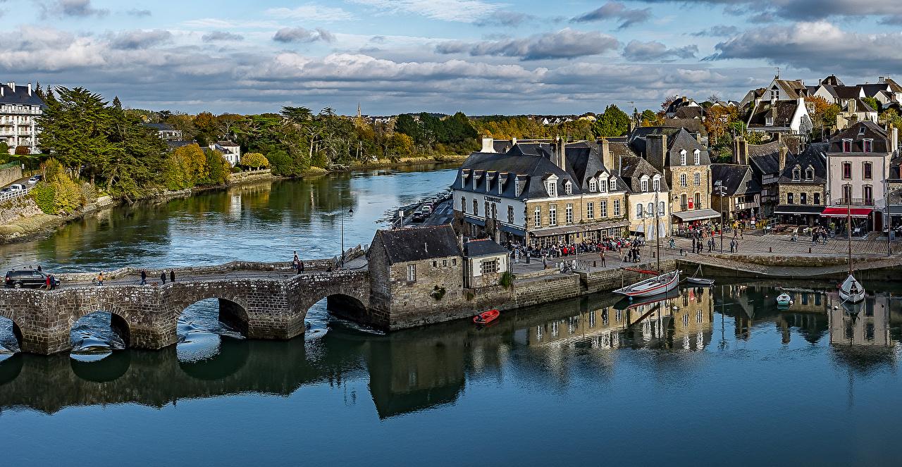 Обои Франция Auray Brittany Мосты Реки Причалы Дома Города речка Пирсы Пристань Здания