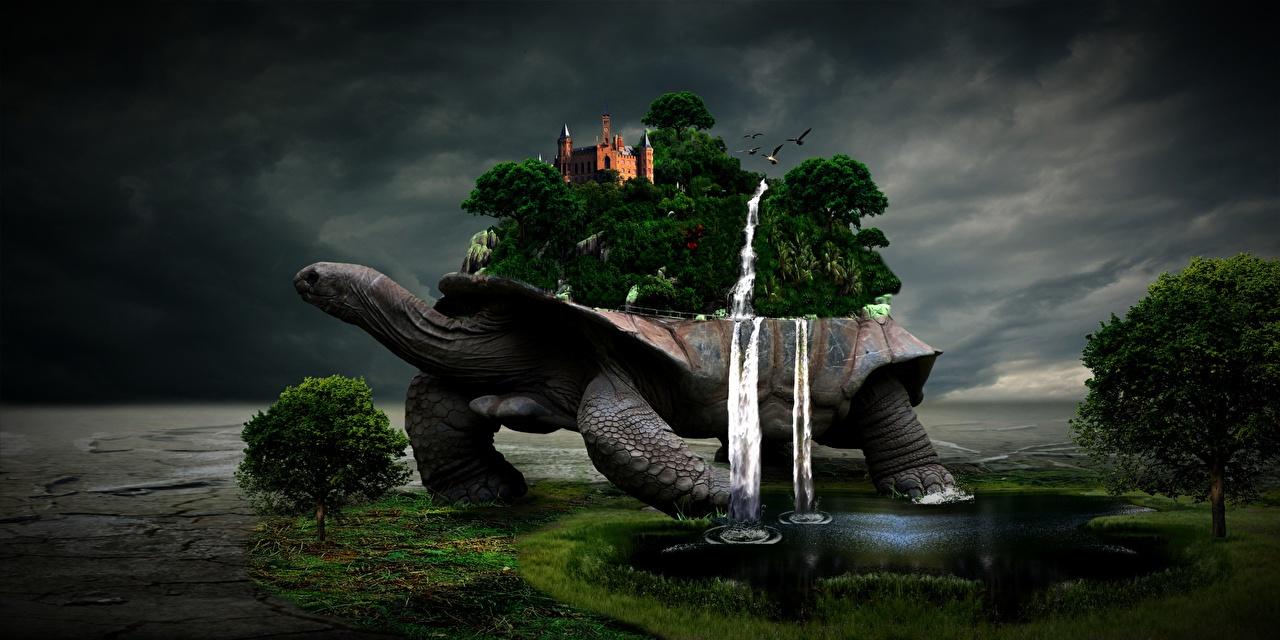 Фото Черепахи Фантасмагория Замки Фэнтези Водопады Озеро Деревья Фантастика