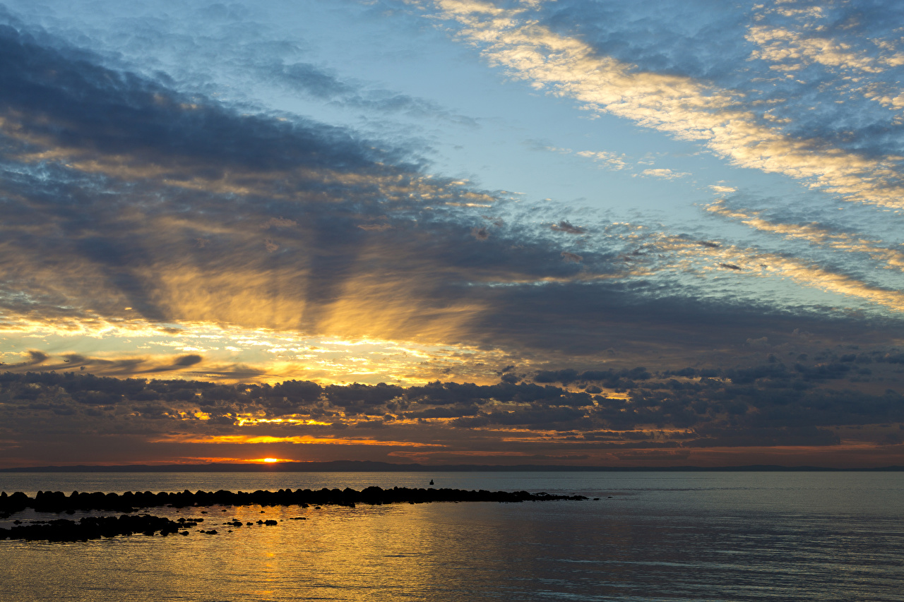 Фото Австралия Queensland Море Природа Небо Рассветы и закаты Облака