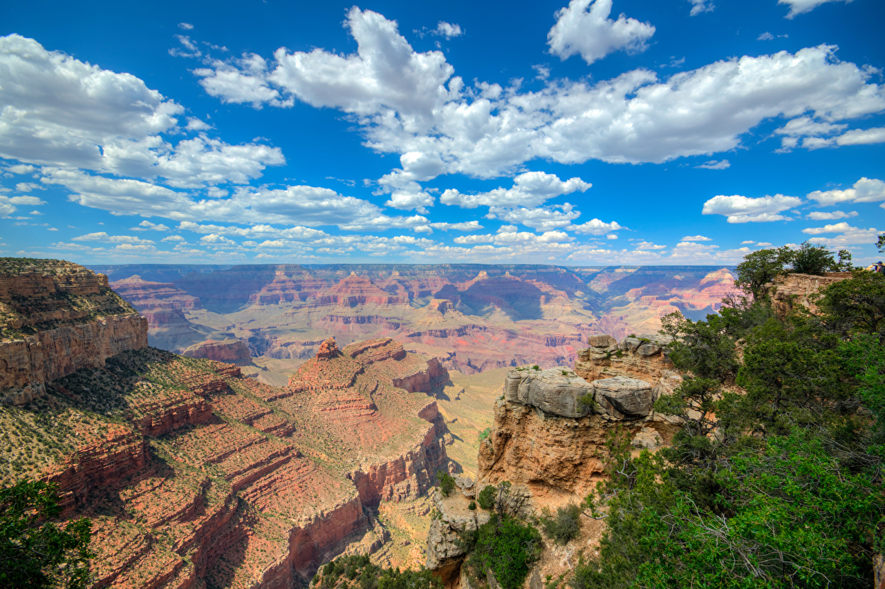 Картинка Гранд-Каньон парк США Горы Природа Небо Парки Облака штаты