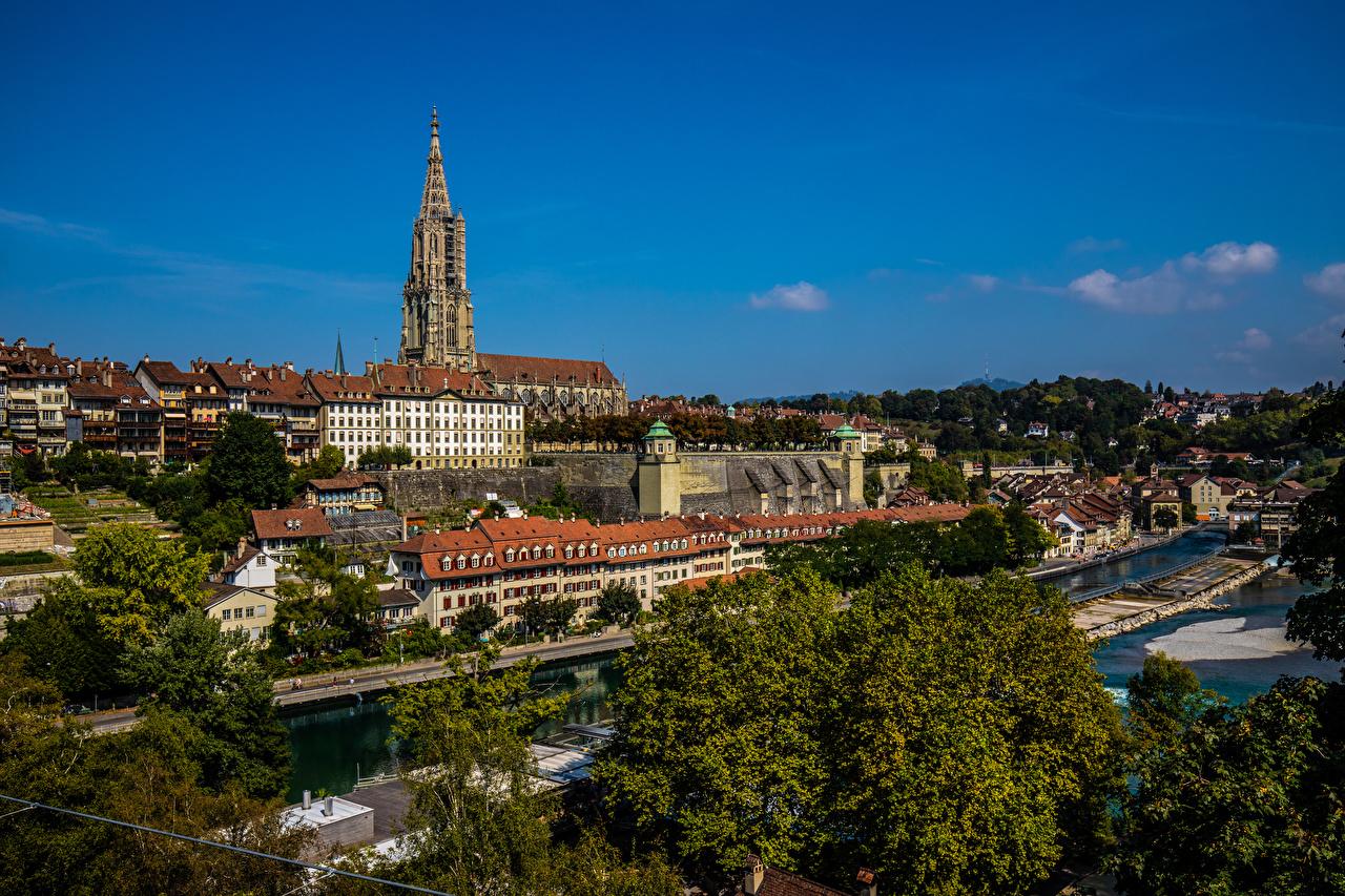 Фотография Берн Швейцария Башня река Дома город башни Реки речка Здания Города