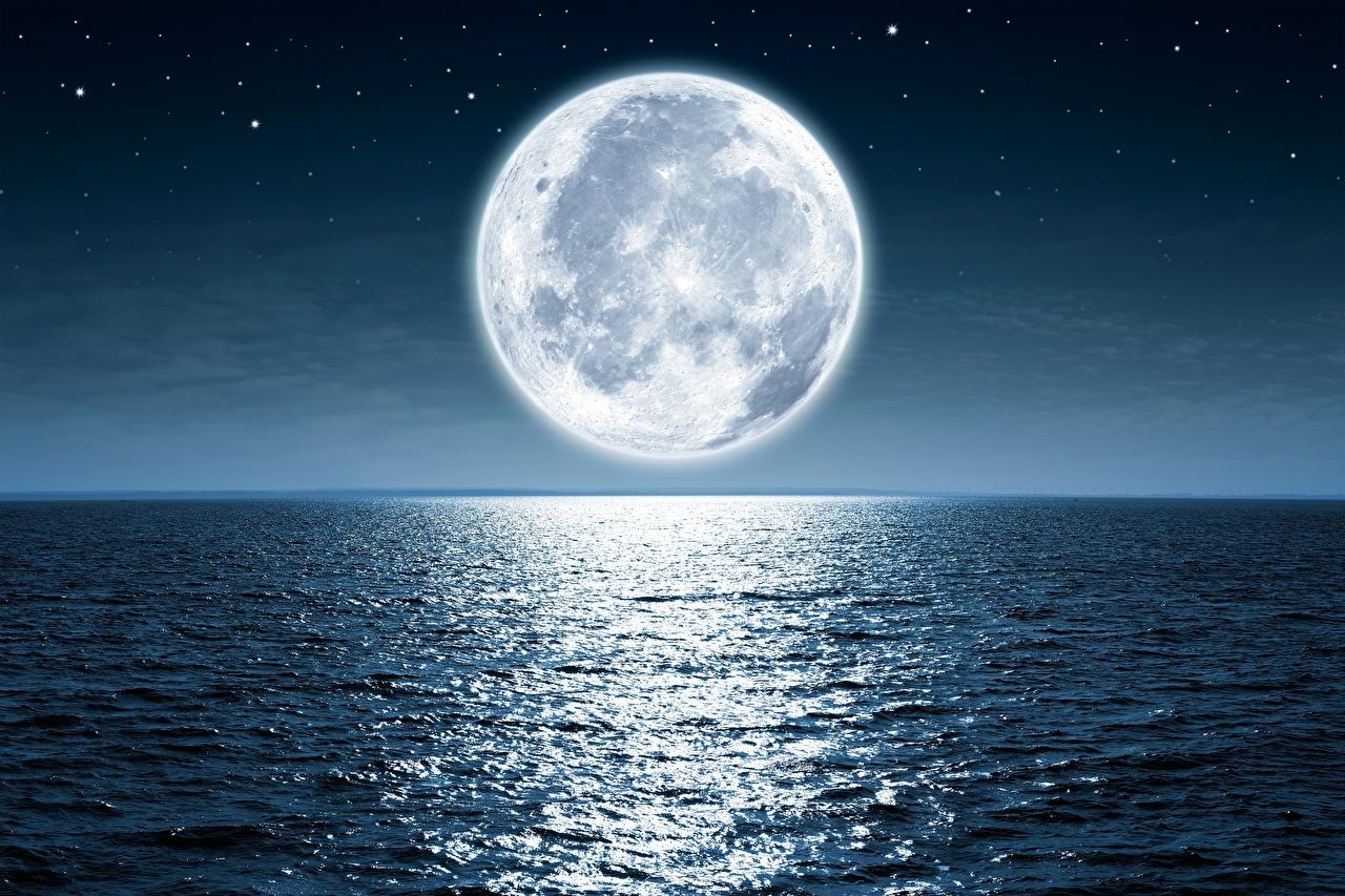 Картинка Море Океан Природа Луна луны луной