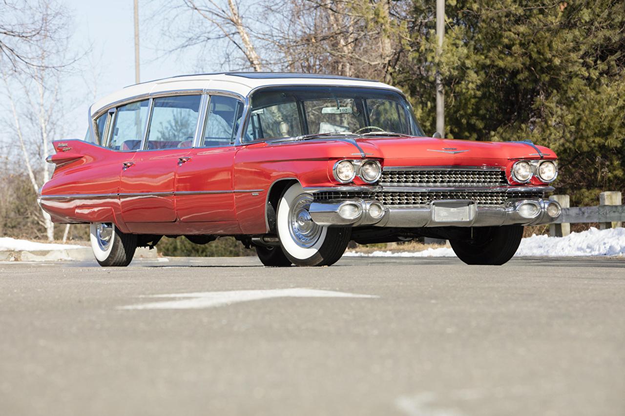 Картинка Кадиллак 1959 Superior-Cadillac Broadmoor Skyview Винтаж Красный Металлик Автомобили Cadillac Ретро старинные Авто Машины