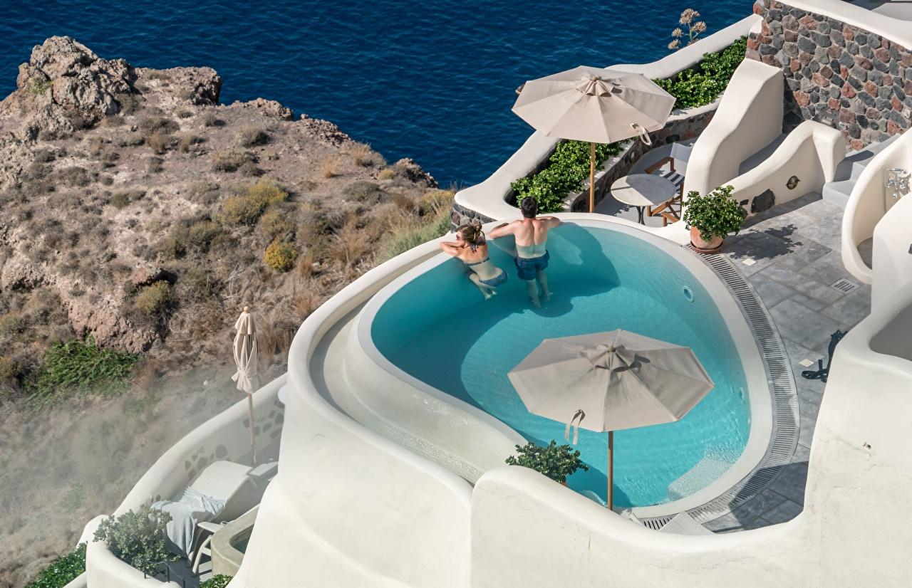 Фотография Греция Курорты Бассейны Santorini, city Oia две релакс Города Плавательный бассейн 2 два Двое Отдых вдвоем отдыхает город