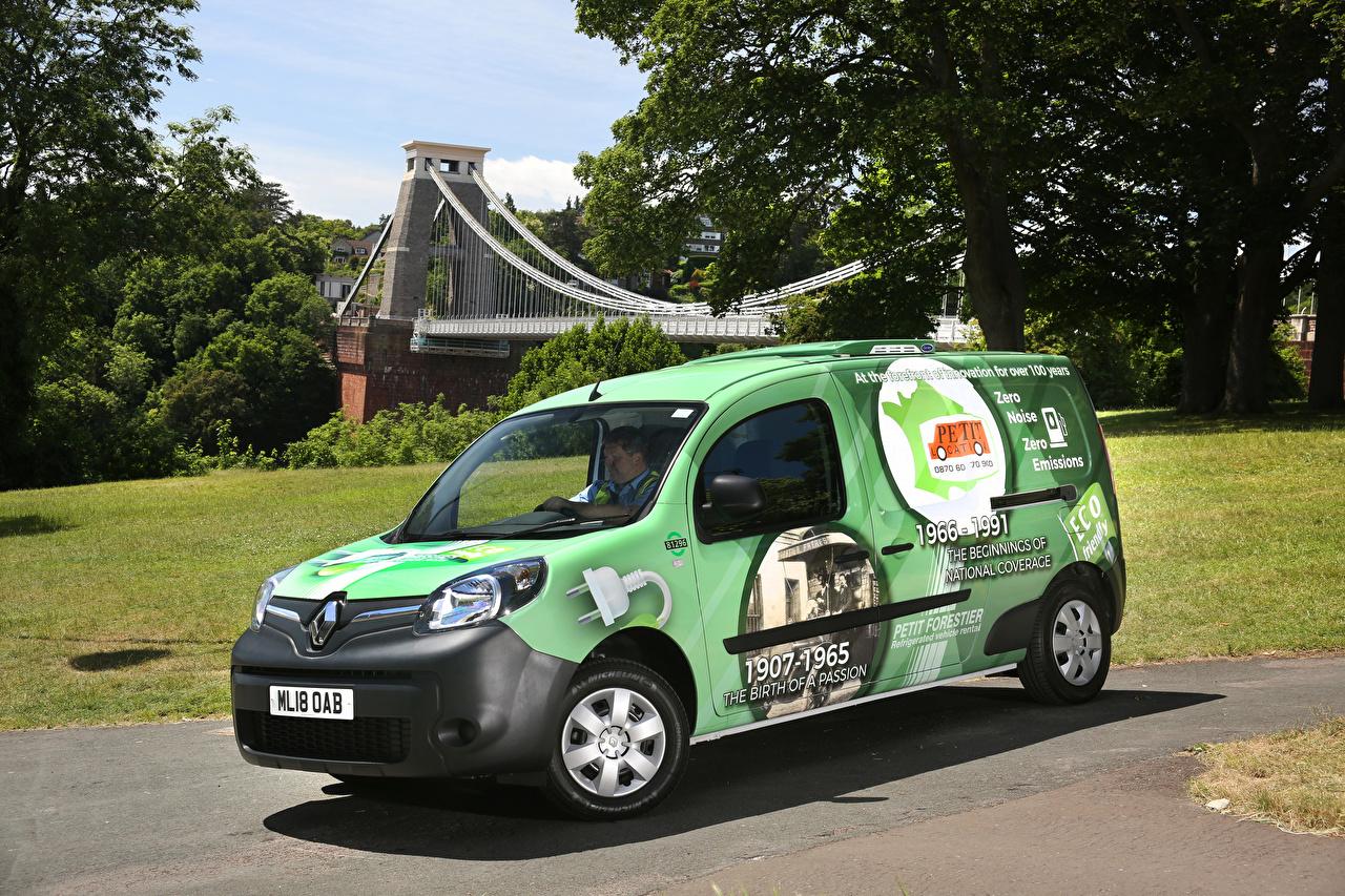 Фотографии Renault 2018-19 Kangoo All-Electric Refrigerated Van Салатовый машины Рено салатовая салатовые желто зеленый авто машина автомобиль Автомобили