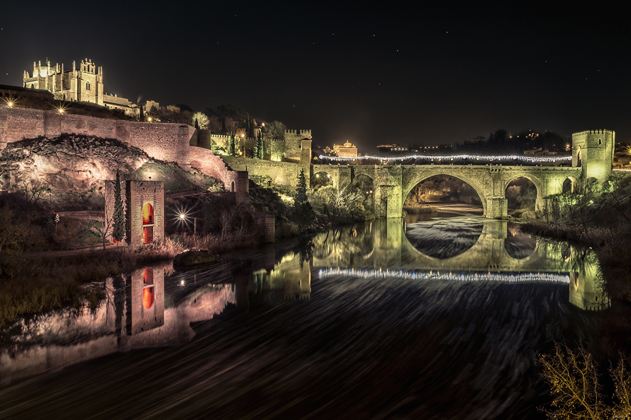 Фотографии Толедо Испания Крепость Мосты речка Ночные город мост Реки Ночь река ночью в ночи Города