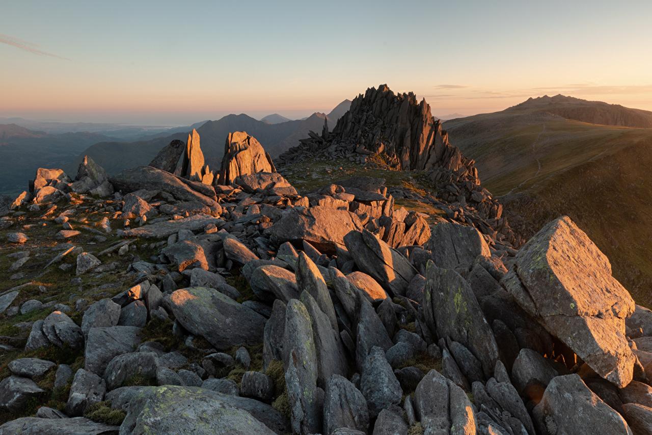 Фото Уэльс Великобритания Snowdonia Горы скалы Природа гора Утес скале Скала