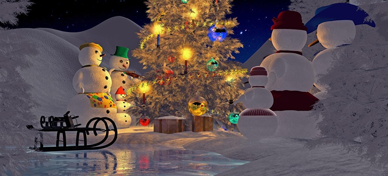 Обои Новый год Сани зимние 3D Графика Новогодняя ёлка Снеговики Рождество Санки Елка Зима