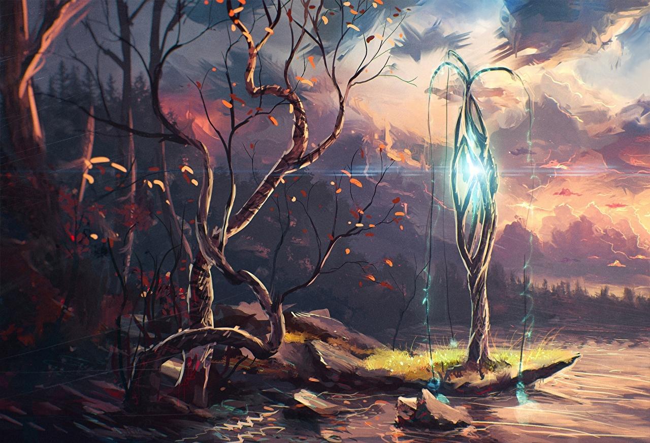 Картинка Фантастика Небо речка Фантастический мир деревьев Фэнтези Реки река дерево дерева Деревья