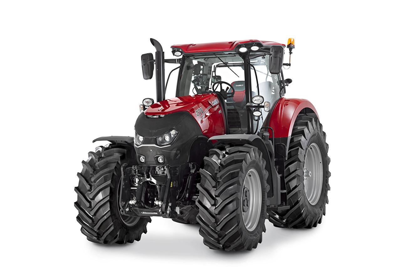 Картинка Трактор Case IH Optum 270 CVX, 2015 -- Красный Белый фон тракторы трактора красная красные красных белом фоне белым фоном