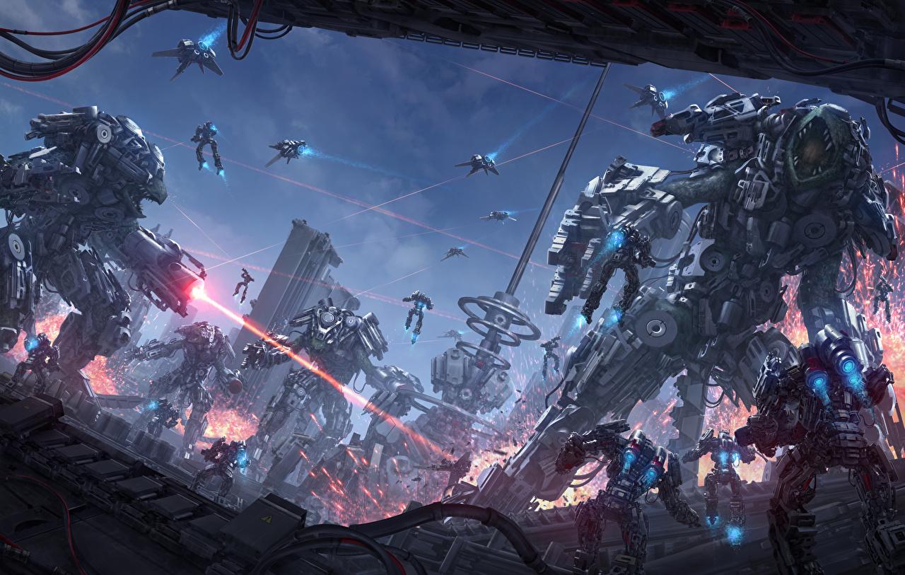 Фотография Иллюстрации к книгам Робот Воители Chris Fox, Planet Strider Фэнтези Битвы воины Фантастика сражения
