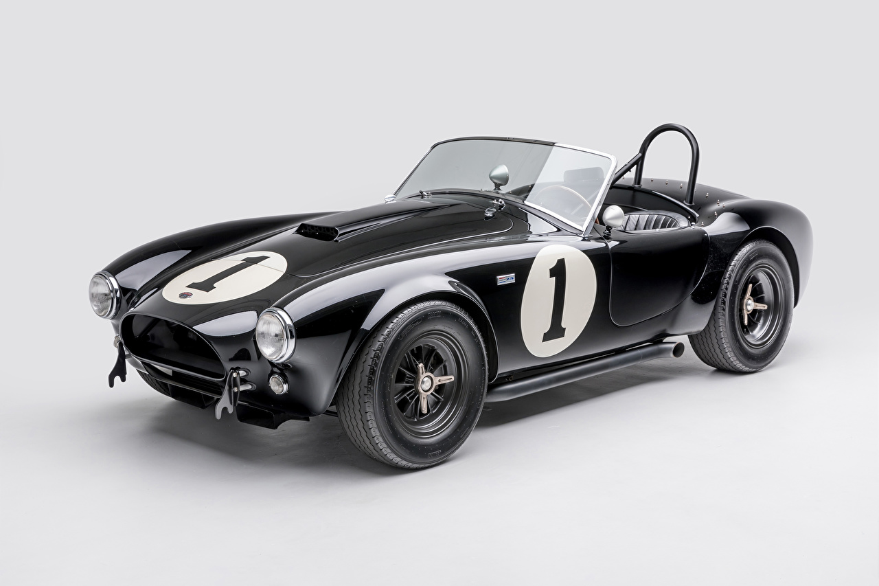 Фотографии Shelby Super Cars 1962 Shelby Cobra 289 кабриолета Ретро черная Металлик Автомобили Серый фон SSC Кабриолет черных черные Черный Винтаж старинные Авто Машины
