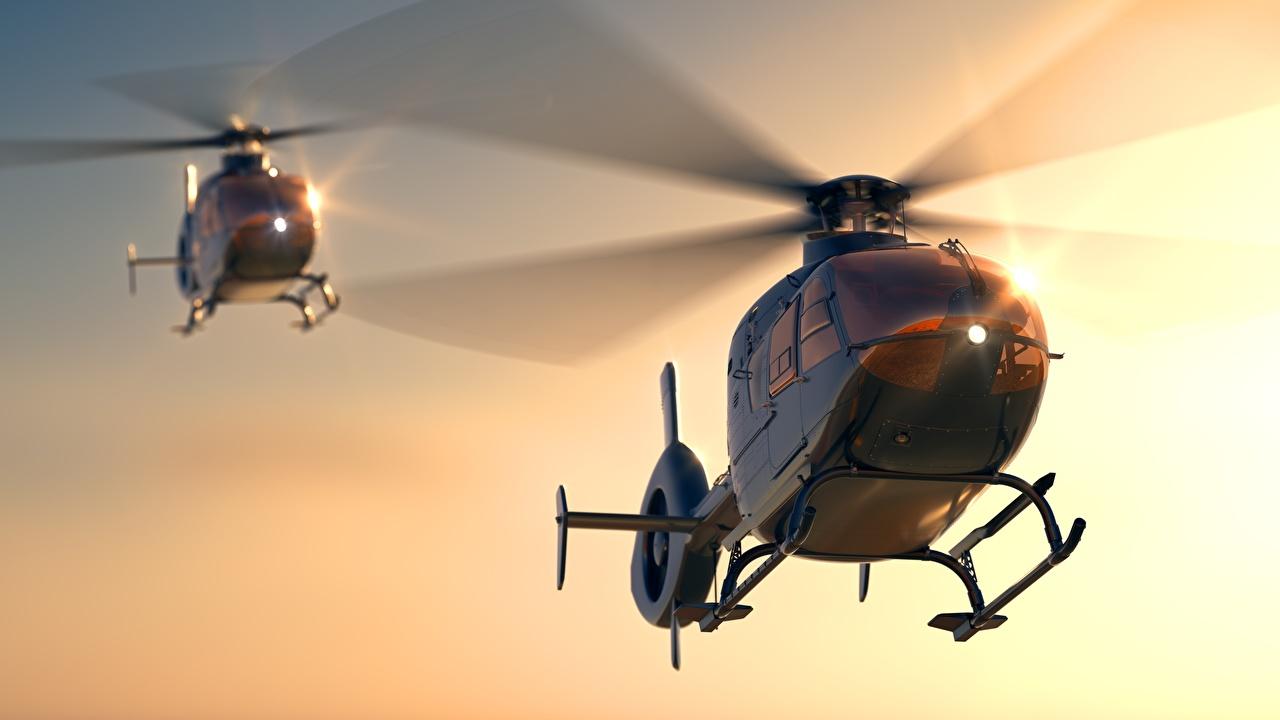 Обои Вертолеты Eurocopter EC 135 2 Авиация Двое вдвоем