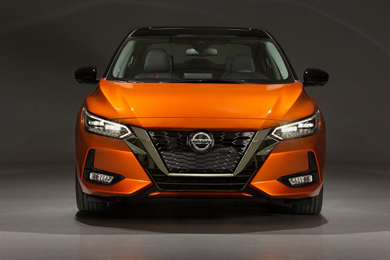Фотографии Ниссан Sentra SR, North America, 2020 Оранжевый авто Спереди Металлик Nissan оранжевая оранжевые оранжевых машина машины Автомобили автомобиль
