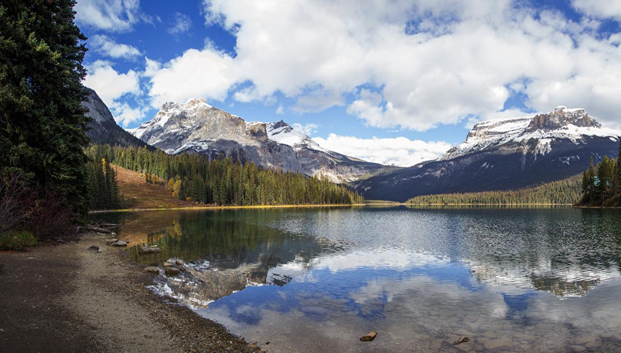 Фотографии Канада Yoho National Park Горы Природа лес Озеро Парки Побережье гора Леса парк берег