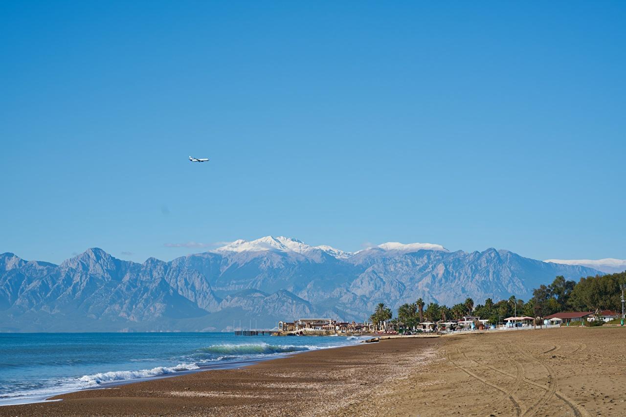 Картинка Турция Курорты Antalya пляжа Горы Природа Побережье Пляж пляжи пляже гора берег