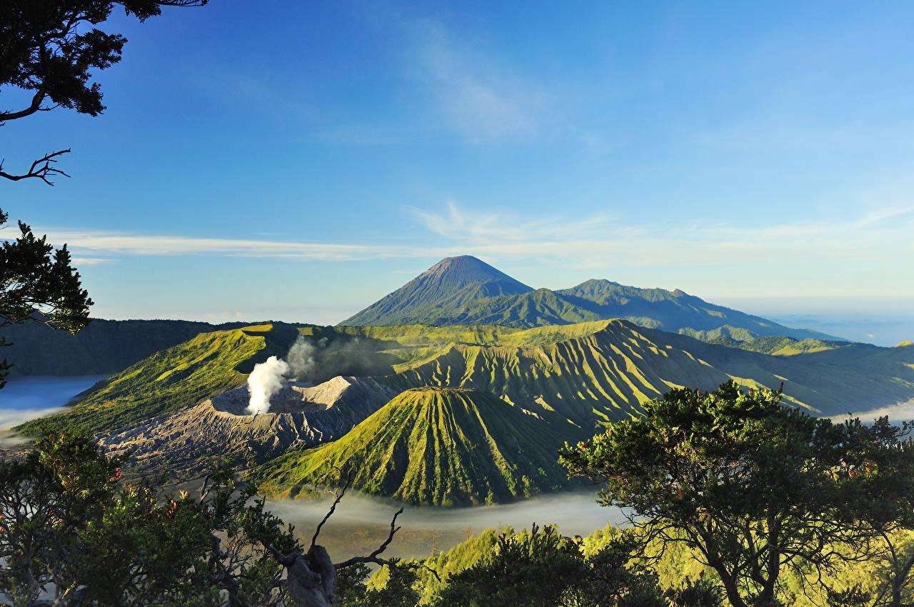 Картинки Индонезия вулканы Mount Bromo Surabaya Горы Природа Пейзаж Вулкан вулкана гора