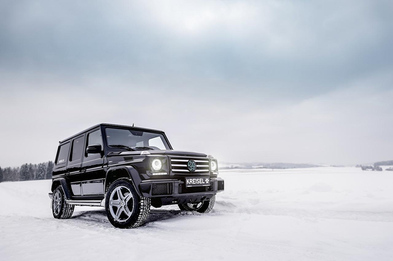 Обои Mercedes-Benz G-класс W463 Зима Черный Снег Машины Мерседес бенц Гелентваген зимние Авто Автомобили