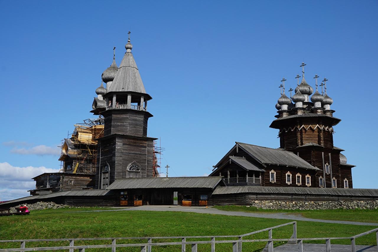 Фотографии Церковь Россия музеи Kizhi, Karelia из дерева город Музей Деревянный Города