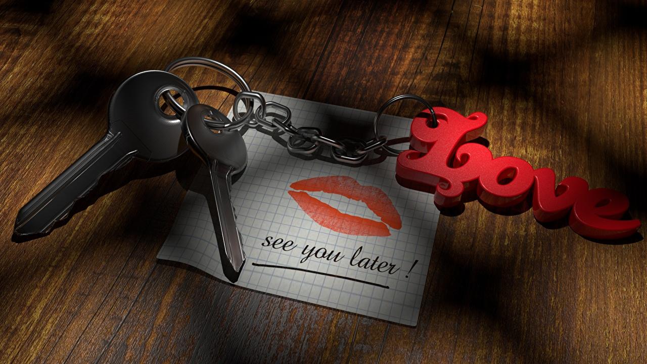 Обои Английский Лист бумаги Любовь Цепь Губы Замковый ключ