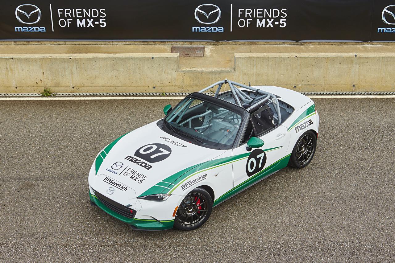 Фотография Mazda Тюнинг 2015-17 MX-5 Cup Кабриолет Белый Авто Мазда Стайлинг Машины Автомобили