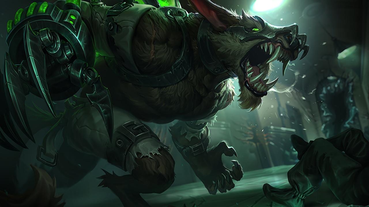 Картинки League of Legends Монстры Клыки Warwick Фэнтези Игры злость LOL монстр чудовище Фантастика злой Оскал рычит компьютерная игра