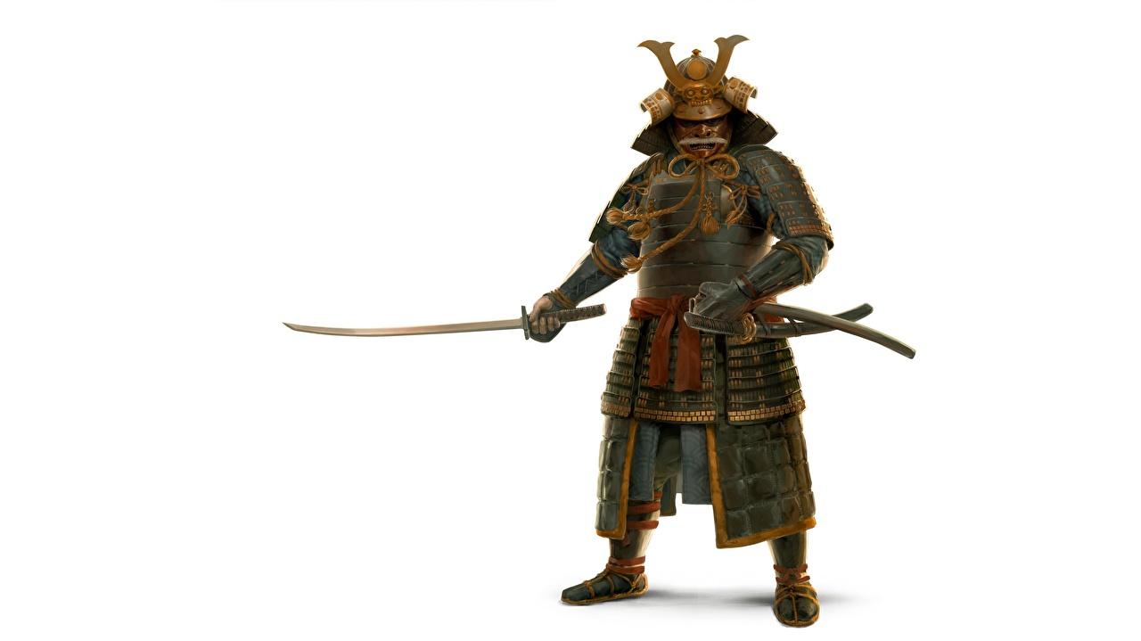 Фото броня Самурай Воители Японские Катана Белый фон Рисованные броне самурая доспехе Доспехи самураи доспехах воин воины японская японский белом фоне белым фоном