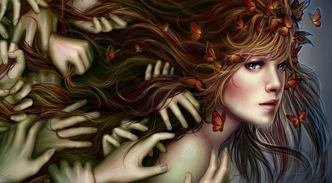Фотографии Бабочки Шатенка лица Фэнтези девушка Руки бабочка шатенки Лицо Девушки Фантастика молодая женщина молодые женщины рука