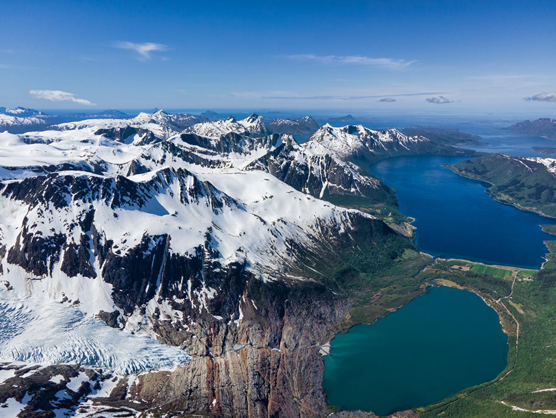 Фотографии Норвегия Kilvik, fjord Горы Природа Небо снегу Сверху гора Снег снеге снега